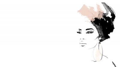 Fototapete African American illustration for fashion banner. Trendy woman model background. Afro hair style girl