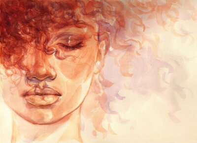 Fototapete african american woman. illustration. watercolor painting
