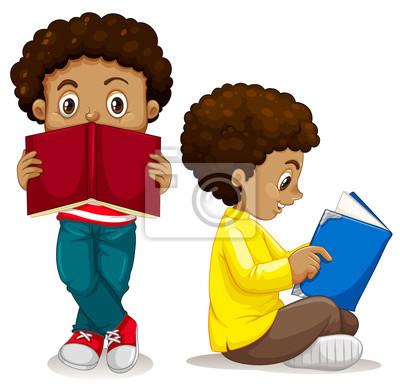 African boy reading book