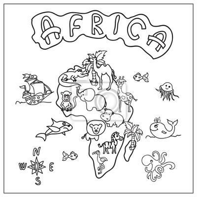 Afrika Kontinent Kinder Karte Ausmalbilder Fototapete Fototapeten