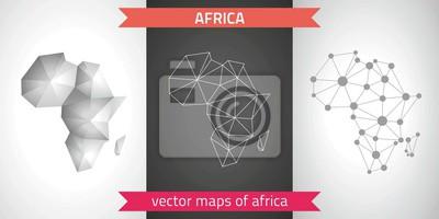 Fototapete Afrika Sammlung Von Vektor Design Moderne Karten, Grau Und  Schwarz Und Silber Punkt