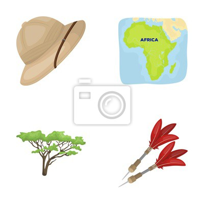 Fototapete Afrikanische Safari Set Sammlung Symbole In Cartoon Stil  Vektor Symbol Stock Illustration Web