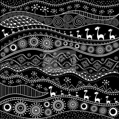 Fototapete: Afrikanischen handgezeichneten ethno-muster,  stammes-hintergrund.