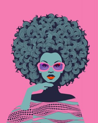 Fototapete Afro American woman art portrait with pink sunglasses. Mid century modern retro style. Eps10 vector