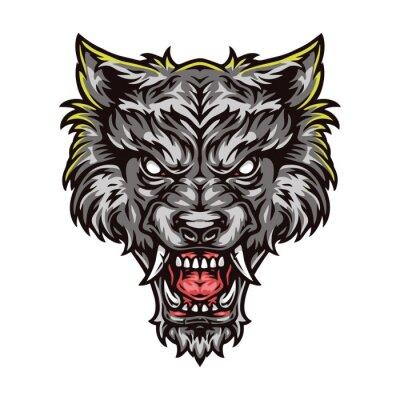 Fototapete Aggressive werewolf beast colorful head