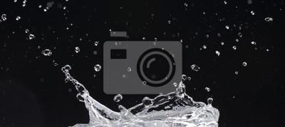 Agua En Movimiento Sobre Fondo Negro Fototapete Fototapeten