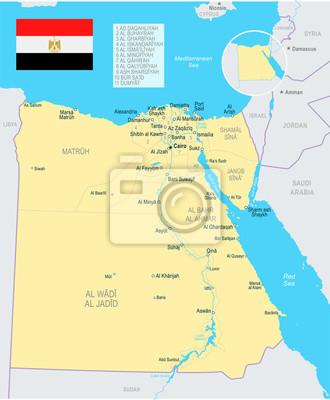 Karte Von ägypten.Fototapete ägypten Karte Und Flagge Illustration