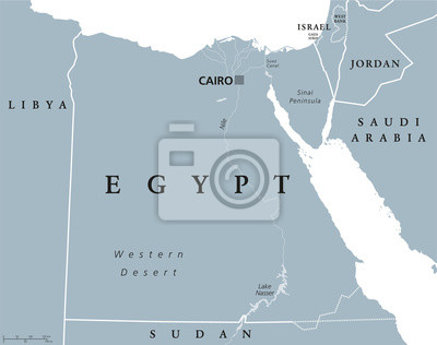 Karte ägypten Nil.Fototapete ägypten Politische Karte Mit Hauptstadt Kairo Mit Nil Sinai Halbinsel