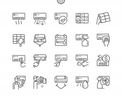 Fototapete Air conditioning cleaning. Before and after. Price. Detergent. Cleaning service. Pixel Perfect Vector Thin Line Icons. Simple Minimal Pictogram
