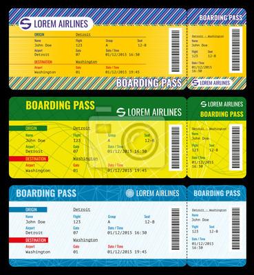 Airline bordkarte moderne tickets vektor-mockup. ticket vorlage ...