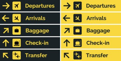 Fototapete Airport sign departure arrival travel icon. Vector airport board airline sign, gate flight information