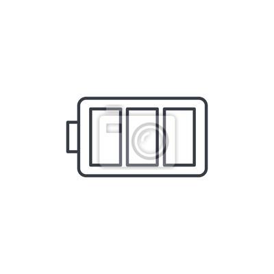 Akku-ladung volle dünne linie symbol. lineare vektor-illustration ...