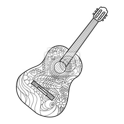 Akustikgitarre Ausmalbilder für Erwachsene Vektor