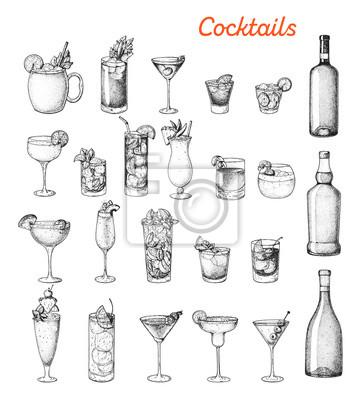 Fototapete Alcoholic cocktails hand drawn vector illustration. Sketch set. Cognac, brandy, vodka, tequila, whiskey, champagne, wine, margarita cocktails. Bottle and glass.