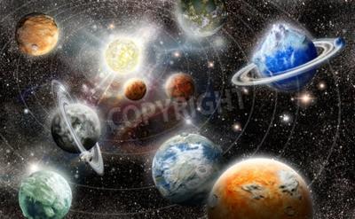 Fototapete Alien Planeten-Stern-System im Weltraum