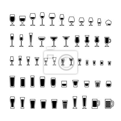 Alkoholische getränke gläser schwarz und weiß symbole gesetzt ...