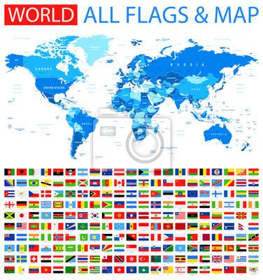 Alle Flaggen Und Weltkarte Blau Vector Sammlung Von Weltflaggen