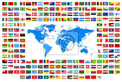 Alle Flaggen Und Weltkarte Vector Sammlung Von Weltflaggen Und