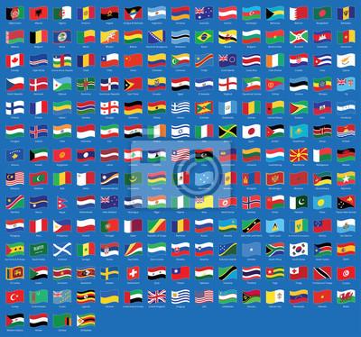 Alle National Wehende Fahnen Aus Der Ganzen Welt Mit Namen