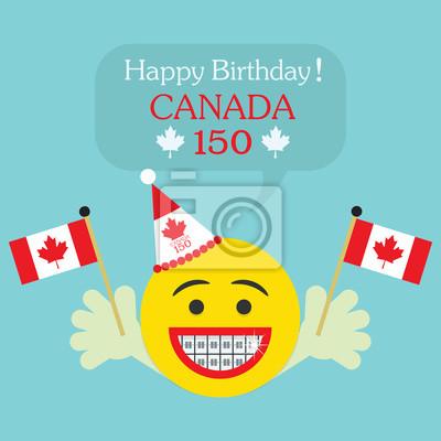 Alles Gute Zum Geburtstag Kanada 150 Emoji Ikone Mit Grossem