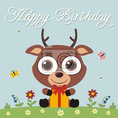 Alles Gute Zum Geburtstag Lustige Kleine Hirsche Mit Geschenk