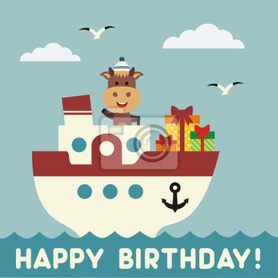 Alles Gute Zum Geburtstag Lustige Kuh Auf Dem Schiff Mit