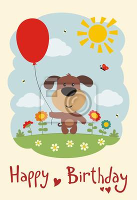 Alles Gute Zum Geburtstag Lustige Welpenhund Mit Ballon Auf