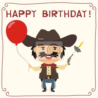 Alles gute zum geburtstag! lustiger cowboy mit rotem ballon