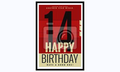 Alles Gute Zum Geburtstag 14 Jahre Karte Poster Vektorabbildung