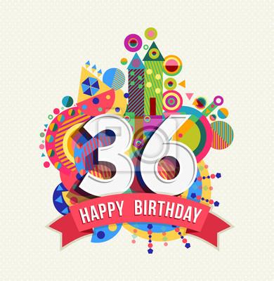 Alles Gute Zum Geburtstag 36 Jahre Grußkarte Posterfarbe Fototapete