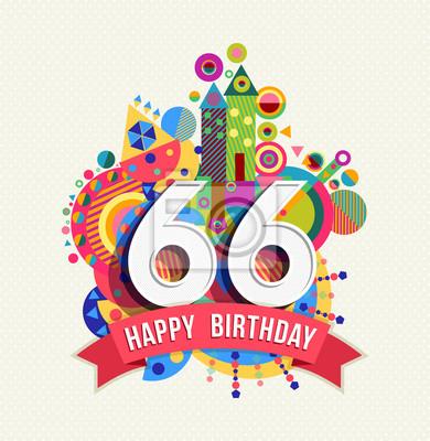 Alles Gute Zum Geburtstag 66 Jahre Grußkarte Posterfarbe Fototapete