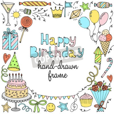 Alles Gute Zum Geburtstag Grusskarte Banner Rahmen Mit Text