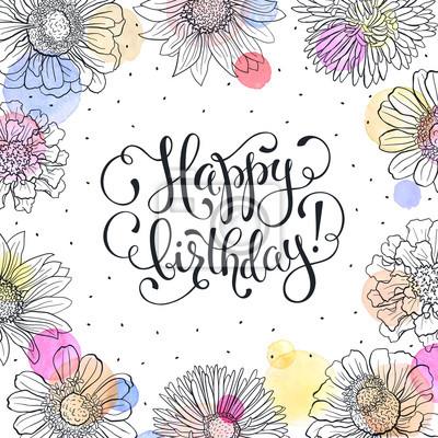Alles Gute Zum Geburtstag Grusskarte Sketch Blumen Rahmen Mit