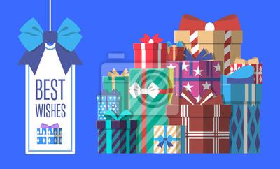 Alles gute zum geburtstag grußkarte vorlage mit bunten geschenk-box ...