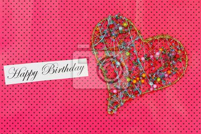Alles Gute Zum Geburtstag Karte Mit Herz Auf Bunte Perlen Auf