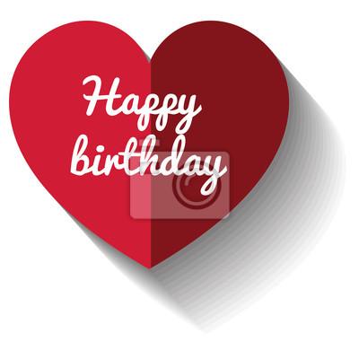 Alles Gute Zum Geburtstag Karte Mit Herz Liebe Vektor Illustration