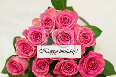 Alles Gute Zum Geburtstag Karte Mit Rosa Rosen Mit Glitzer
