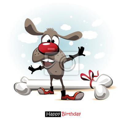 Alles Gute Zum Geburtstag Lacheln Hund Cartoon Nett Lustig