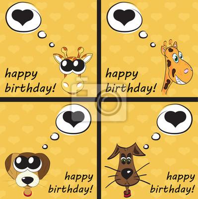 Alles Gute Zum Geburtstag Lustige Grusskarte Mit Tieren