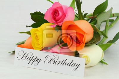 Alles Gute Zum Geburtstag Note Und Bunten Strauss Von Rosen