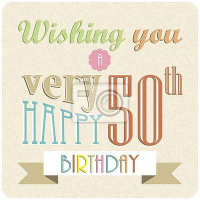 Alles Gute Zum Geburtstag Retro Einladung Partei Feier Fototapete