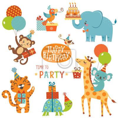 Alles Gute Zum Geburtstag Tiere Fototapete Fototapeten Partei Hut