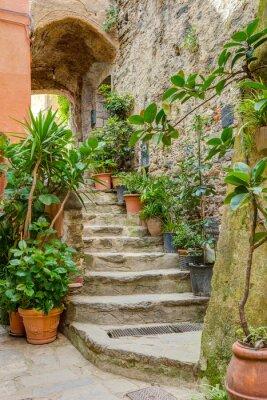 Fototapete Alley in italienischen Altstadt Liguria Italien