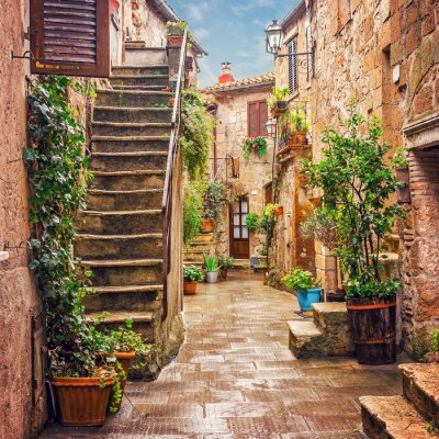 Fototapete Alley in old town Pitigliano Tuscany Italy