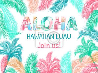 Fototapete Aloha Hawaiian Party Template Invitation