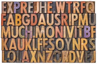 Alphabet abstrakt in Buchdruck Holzart