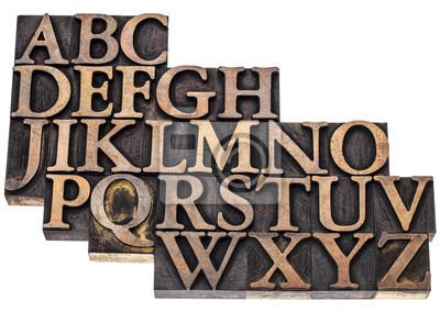 Alphabet abstrakt in Holz-Art