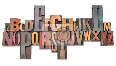 Alphabet abstrakt in Vintage Buchdruck Holzart