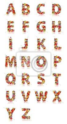 Fototapete Alphabet aus Früchten für Ihren Entwurf gemacht