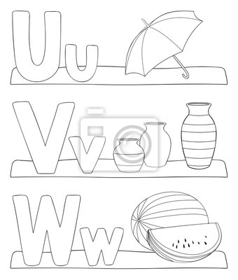 Fototapete Alphabet Ausmalbilder Buchstaben U V W